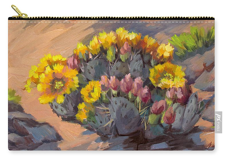 Cactus Carry-all Pouch featuring the painting Prickly Pear Cactus In Bloom by Diane McClary