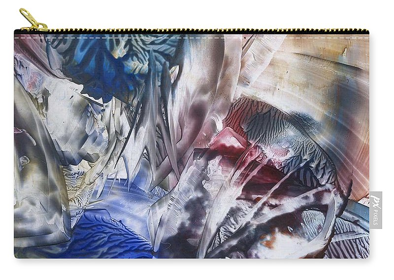 Abstract Encaustics Affordable Carry-all Pouch featuring the painting Primordial State Of Mind by Cristina Handrabur