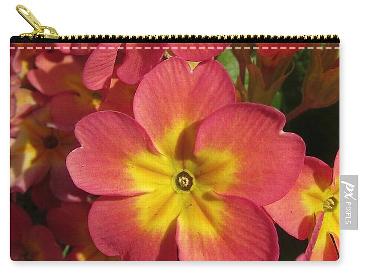 Primrose Carry-all Pouch featuring the photograph Primrose Flowers by Melinda Saminski