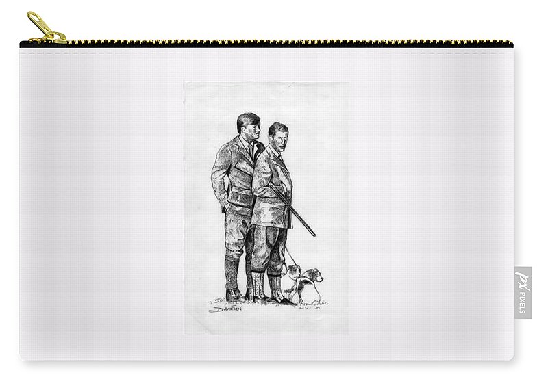 Carry-all Pouch featuring the drawing Prince Charles Hunting by Jude Darrien