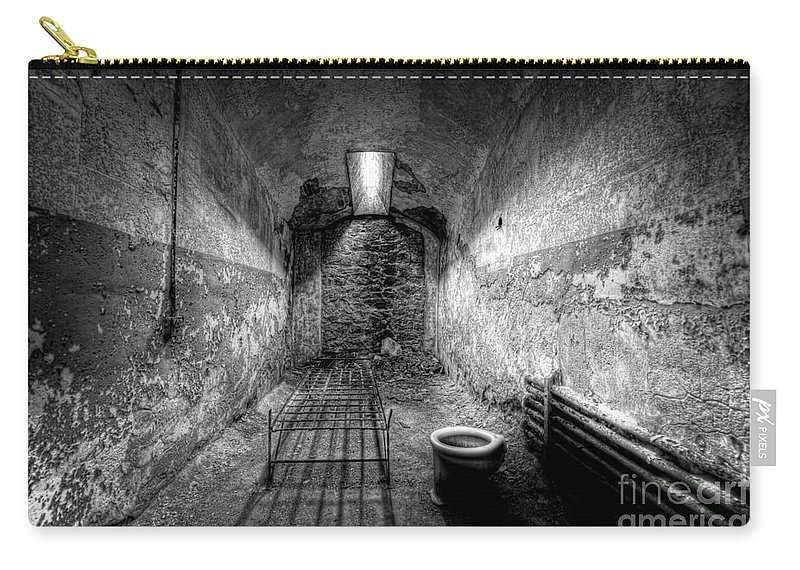 Pa Carry-all Pouch featuring the photograph Prison Cell Black And White by Michael Ver Sprill