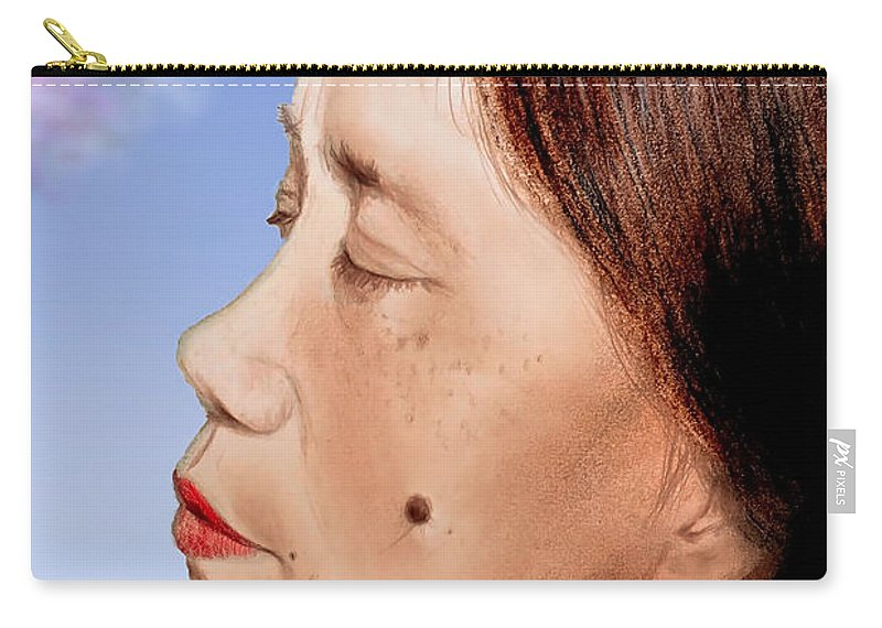 Filipina Beauty With A Mole On Her Cheek Carry-all Pouch featuring the drawing Profile Of A Filipina Beauty With A Mole On Her Cheek Altered Version by Jim Fitzpatrick