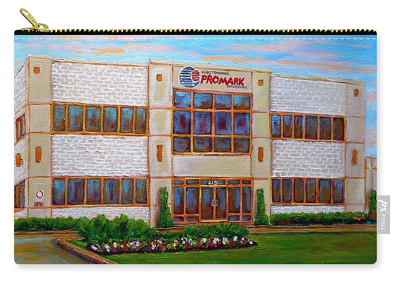 Promark Electonics Carry-all Pouch featuring the painting Promark Electronics 215 Voyageur Street Pointe Claire Montreal Scene by Carole Spandau
