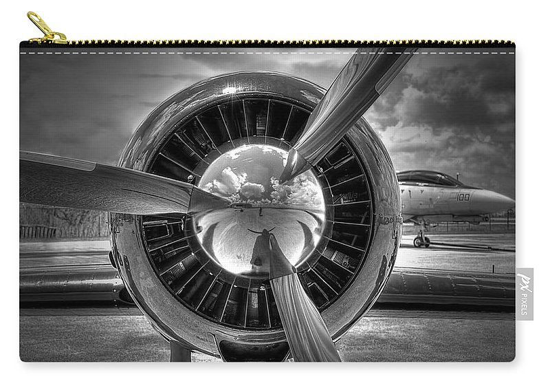 Airplane Carry-all Pouch featuring the photograph Props And Jet by Rudy Umans