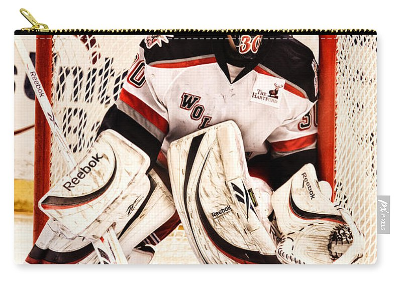 Hockey Carry-all Pouch featuring the photograph Protecting The Net by Karol Livote