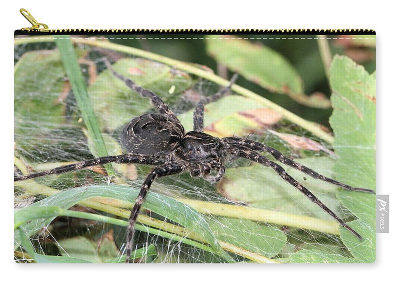 Probable Dark Fishing Spider Carry-all Pouch featuring the photograph Protective Mother by Doris Potter