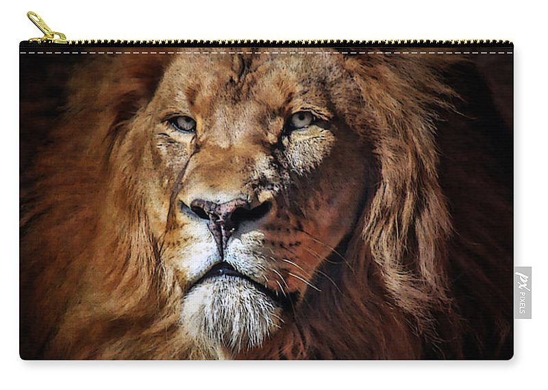 Lions Carry-all Pouch featuring the mixed media Proud N Powerful by Elaine Malott