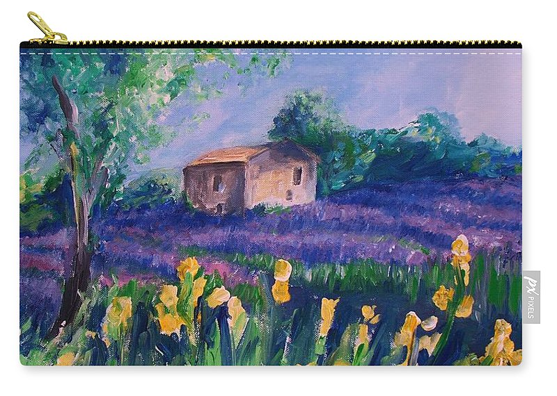 Floral Carry-all Pouch featuring the digital art Provence Yellow Flowers by Eric Schiabor