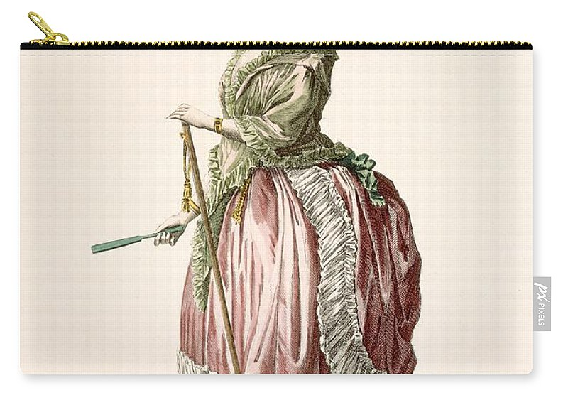 Clothing Carry-all Pouch featuring the drawing Provencial Style Ladys Walking Gown by Claude Louis Desrais