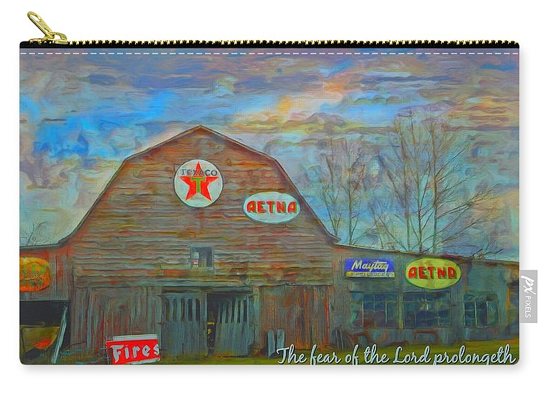 Jesus Carry-all Pouch featuring the digital art Proverbs 10 27 by Michelle Greene Wheeler