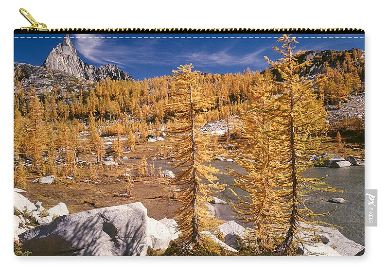 Alpine Lakes Wilderness Carry-all Pouch featuring the photograph Prusik Peak Above Larch Grove by Tracy Knauer