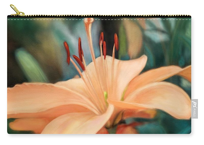 Floral Carry-all Pouch featuring the digital art Psalm 5 by Mary Eichert