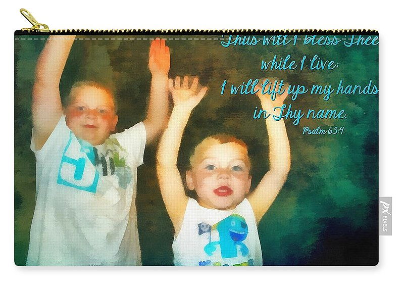 Jesus Carry-all Pouch featuring the digital art Psalm 63 4 by Michelle Greene Wheeler