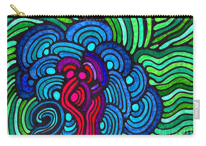 Psychedelia 5 Carry-all Pouch featuring the drawing Psychedelia 5 by Sarah Loft