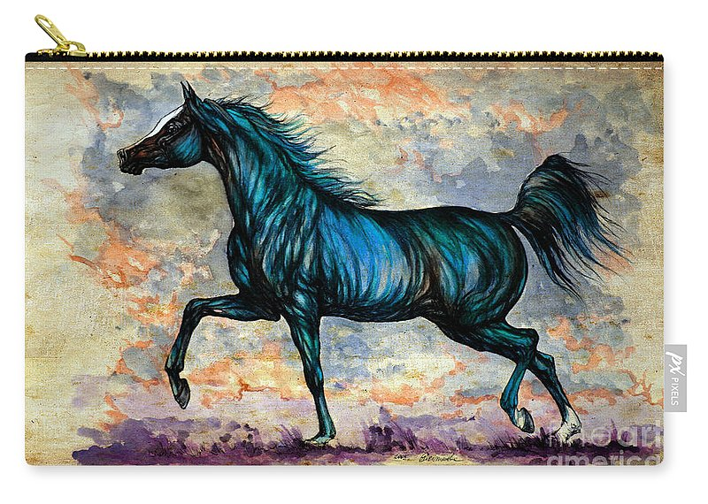 Horse Carry-all Pouch featuring the painting Psychedelic Blue by Angel Ciesniarska