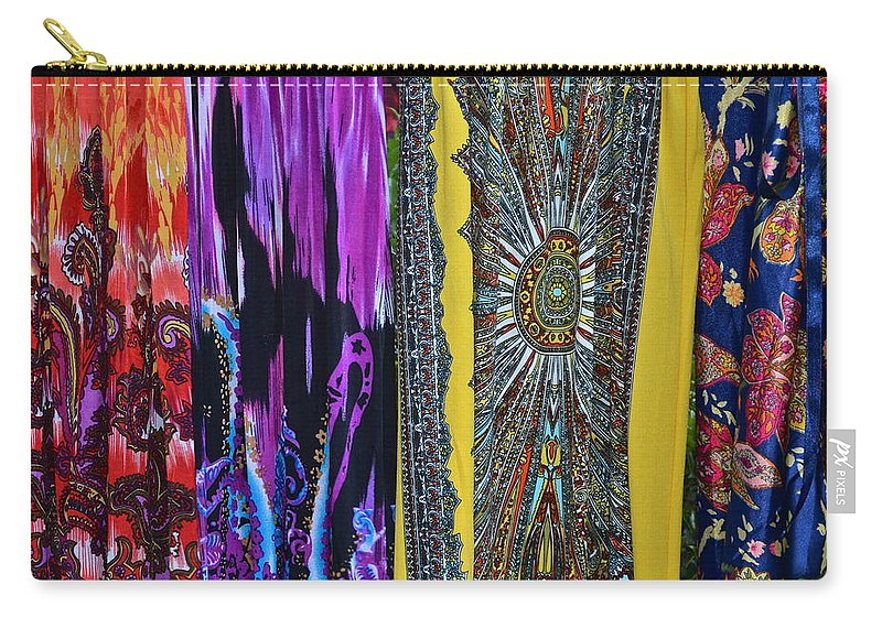 Psychedelic Carry-all Pouch featuring the photograph Psychedelic Dresses by Frozen in Time Fine Art Photography