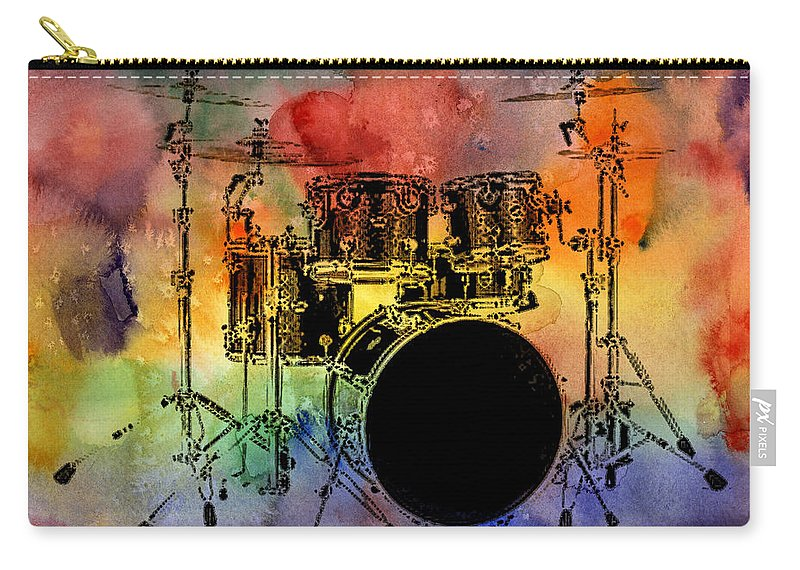 Drums Carry-all Pouch featuring the photograph Psychedelic Drum Set by Athena Mckinzie