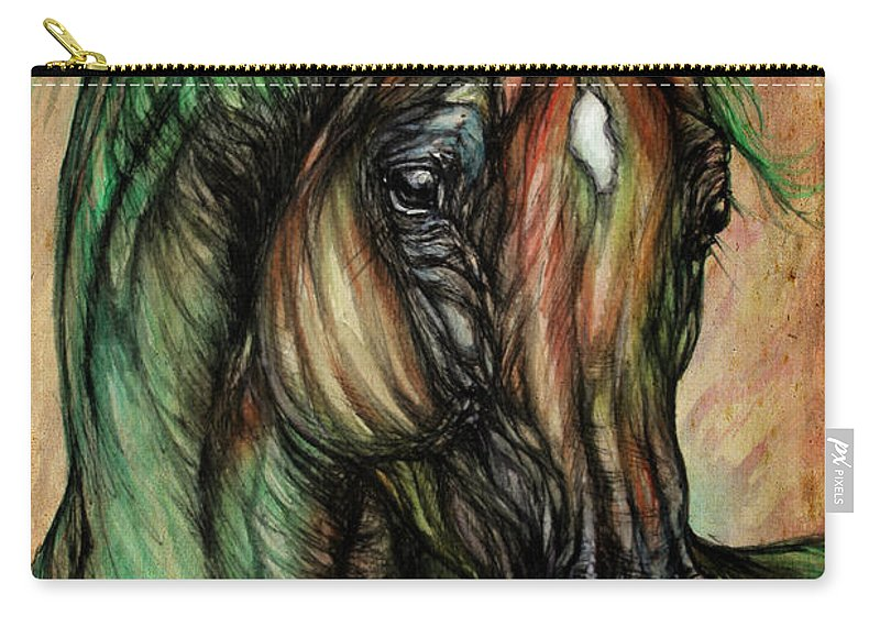 Horse Carry-all Pouch featuring the painting Psychedelic Green And Pink by Angel Ciesniarska