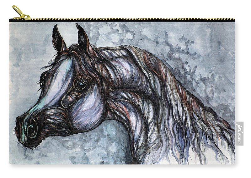Horse Carry-all Pouch featuring the painting Psychedelic Grey And Blue by Angel Ciesniarska