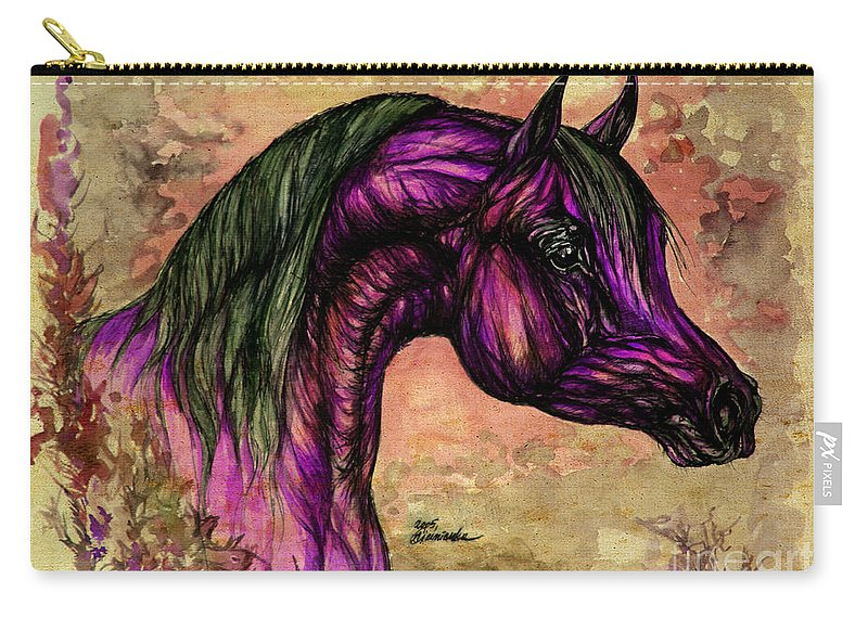 Horse Carry-all Pouch featuring the painting Psychedelic Purple by Angel Ciesniarska