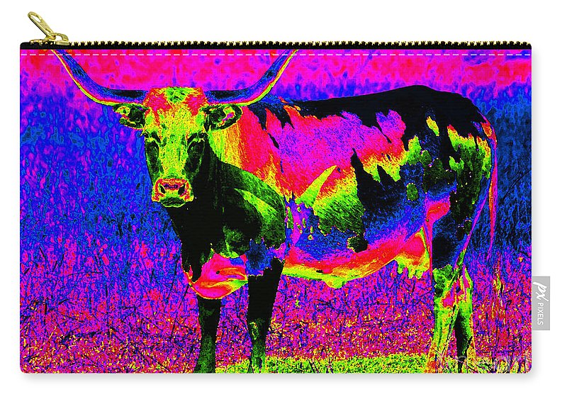 Longhorn Carry-all Pouch featuring the photograph Psychedelic Texas Longhorn by Catherine Sherman
