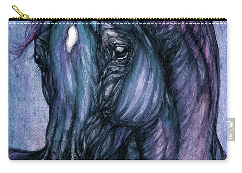 Horse Carry-all Pouch featuring the painting Psychodelic Deep Blue by Angel Ciesniarska