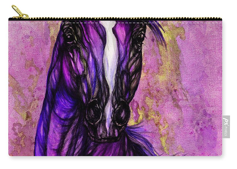 Carry-all Pouch featuring the painting Psychodelic Purple Horse by Angel Ciesniarska
