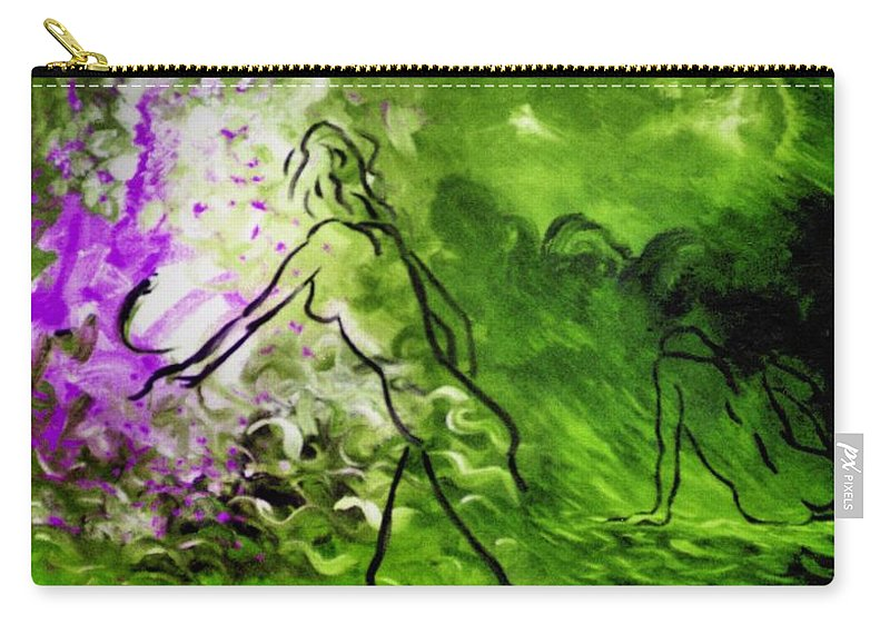 Genio Carry-all Pouch featuring the painting Psychological State In Green by Genio GgXpress