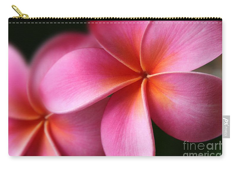 Pink Tropical Plumeria Carry-all Pouch featuring the photograph Pua Lei Aloha Cherished Blossom Pink Tropical Plumeria Hina Ma Lai Lena O Hawaii by Sharon Mau
