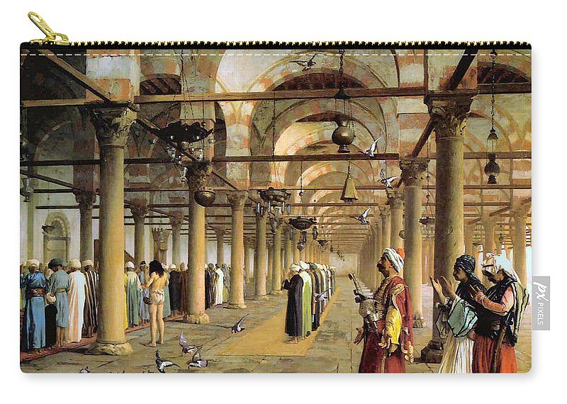 Public Prayer In The Mosque Carry-all Pouch featuring the digital art Public Prayer In The Mosque by Jean Leon Gerome