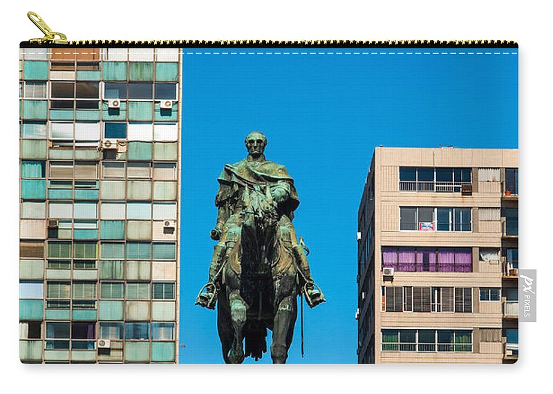 Montevideo Carry-all Pouch featuring the photograph Public Statue Of General Artigas In Montevideo by Jess Kraft