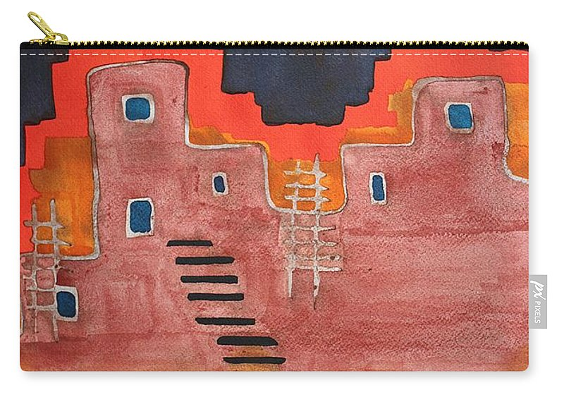 Pueblo Carry-all Pouch featuring the painting Pueblito Original Painting by Sol Luckman