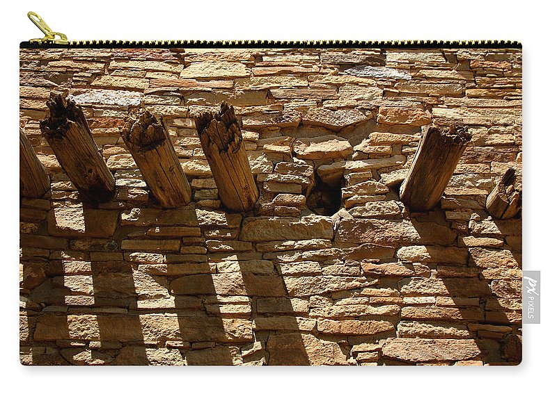 Architecture Carry-all Pouch featuring the photograph Pueblo Bonito Wall by Joe Kozlowski