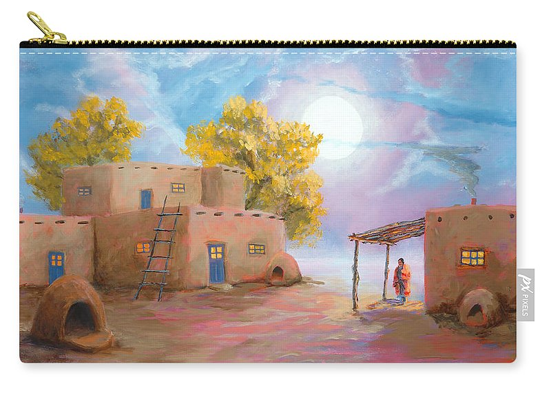 Pueblo Carry-all Pouch featuring the painting Pueblo De Las Lunas by Jerry McElroy