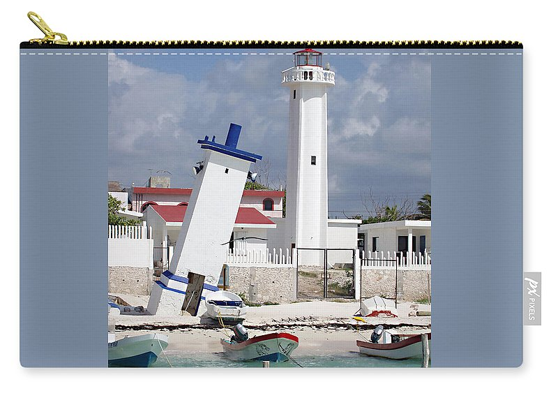 Puerto Morelos Lighthouse Carry-all Pouch featuring the photograph Puerto Morelos Lighthouse by Ellen Henneke