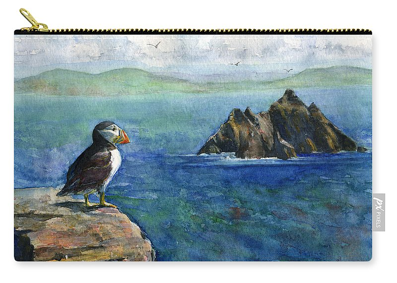 Puffin Carry-all Pouch featuring the painting Puffin At Skellig Island Ireland by John D Benson