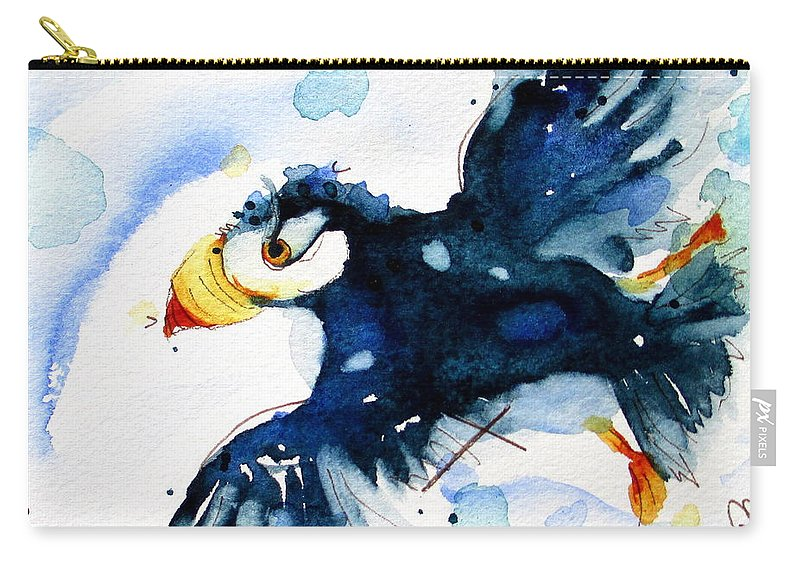 Puffin In Flight Carry-all Pouch featuring the painting Puffin Flight by Dawn Derman