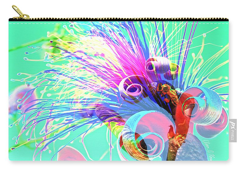 Tropical Puffy Pink Bloom Abstract Carry-all Pouch featuring the photograph Puffy Bloom W Bee Abstract by Olivia Novak