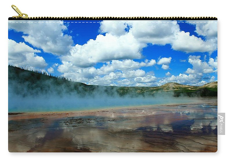 Yellowstone National Park Carry-all Pouch featuring the photograph Puffy Clouds And Hot Springs by Catie Canetti