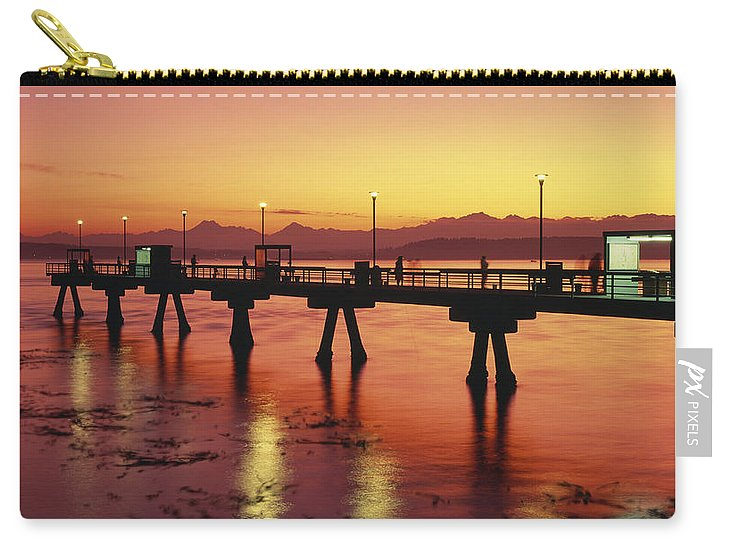 Edmonds Carry-all Pouch featuring the photograph Puget Sound Olympic Mountains Fishing Pier by Jim Corwin