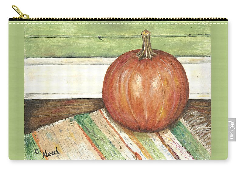 Pumpkin Carry-all Pouch featuring the painting Pumpkin On A Rag Rug by Carol Neal