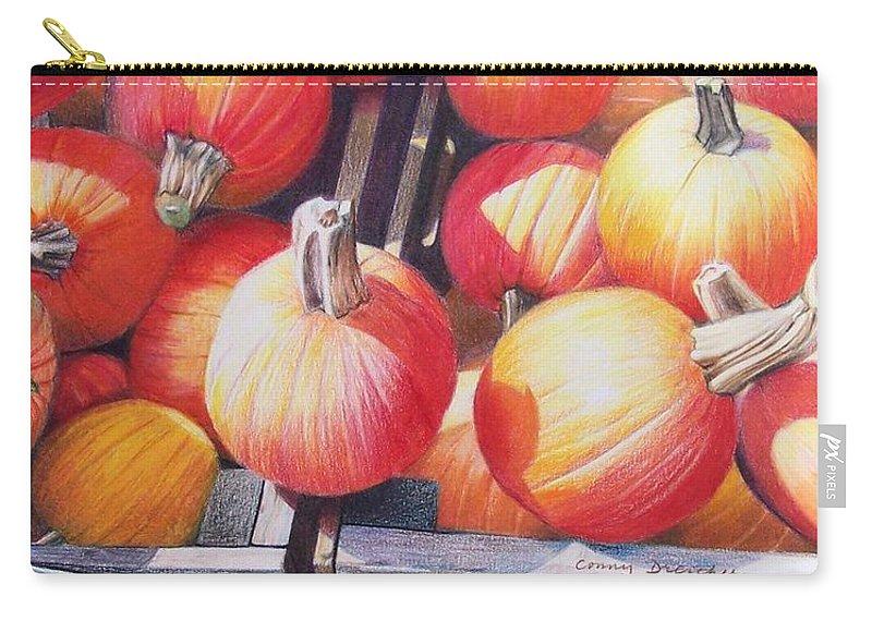 Pumpkins Carry-all Pouch featuring the painting Pumpkins by Constance Drescher