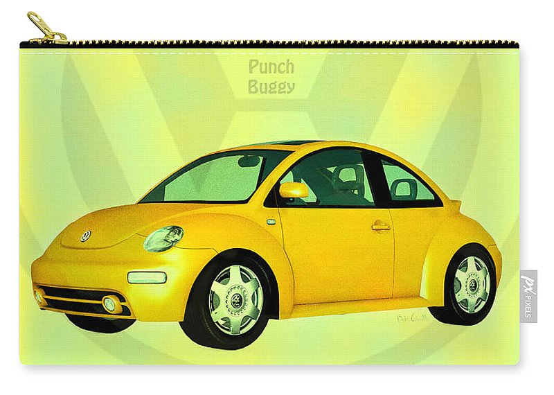 Punch Buggy Carry-all Pouch featuring the digital art Punch Buggy by Bob Orsillo