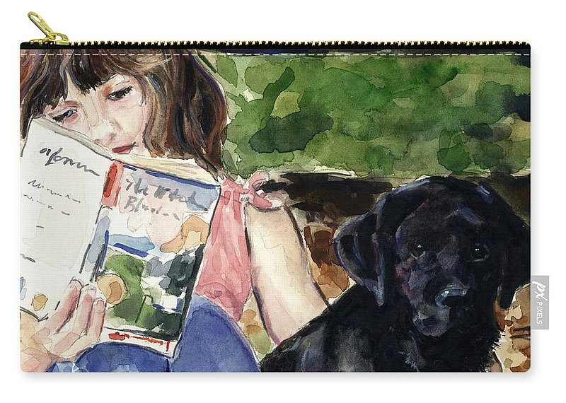 Black Lab Puppy Carry-all Pouch featuring the painting Pup And Paperback by Molly Poole