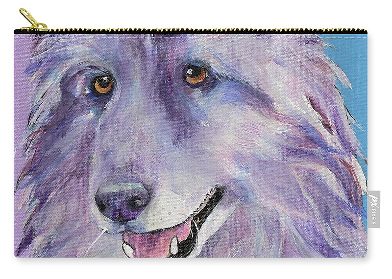 Pat Saunders-white Carry-all Pouch featuring the painting Puppy Dog by Pat Saunders-White