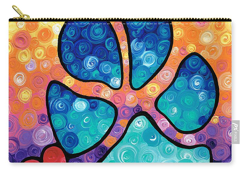 Dog Carry-all Pouch featuring the painting Puppy Love - Colorful Dog Paw Art By Sharon Cummings by Sharon Cummings