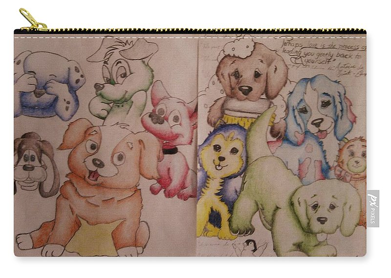 Puppies Carry-all Pouch featuring the drawing Pups by Edward Cormier Jr