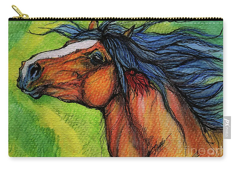 Horse Carry-all Pouch featuring the painting Pure Joy by Angel Ciesniarska