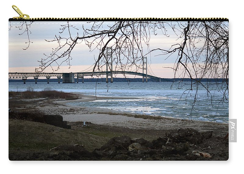 Mackinaw Bridge Carry-all Pouch featuring the photograph Pure Michigan by Linda Kerkau