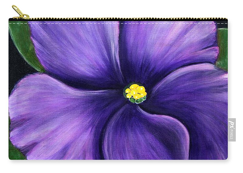 Barbara Griffin Carry-all Pouch featuring the painting Purple African Violet by Barbara Griffin